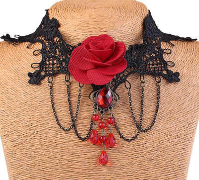 e0de3b7d5e680 ... Vintage Black Lace gothic Choker Necklace jewelry Red Rose Flower  Tattoo Tassel Punk Style Wedding Jewelry ...