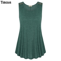 Timeson Summer 2017 Sleeveless Solid Tee V Neck Women Tanks Wool Button Big Hem Long Loose