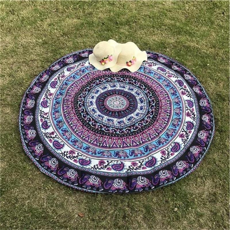 Cotton Beach Mat Indian Mandala Tapestry Elephant Printed Bohemian Beach Mat Bikini Cover-Up Blanket