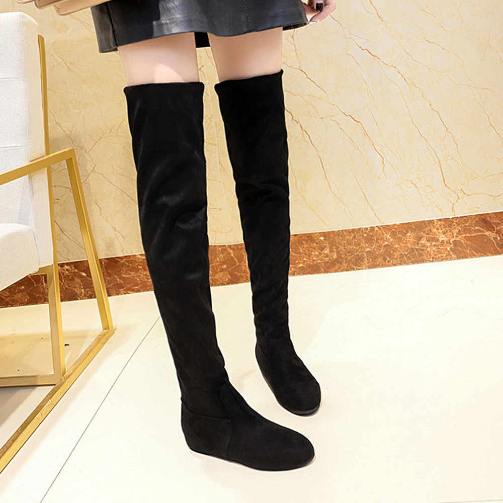 YOUYEDIAN Women Boots 2019 Over The Knee Boots Women Slip On Flat Winter Shoes Casual Black Thigh High Boots Botas Mujer
