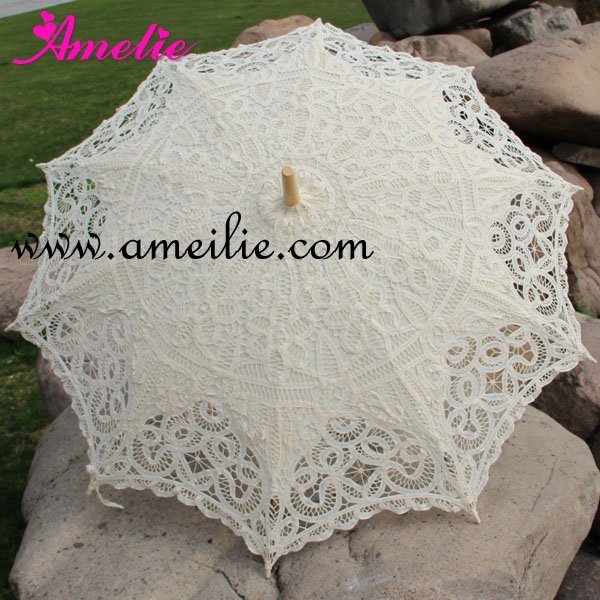 Full Batten Lace Parasol Umbrella Wedding Free shiping