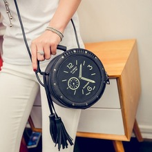 Fashion Tassel Leather Crossbody Bags Women Shoulder Bag Chic Clock Modeling Handbags Female Round Handbag the new creative alarm clock pack craft watch bag handbag shoulder bag fashion women s handbags dropship