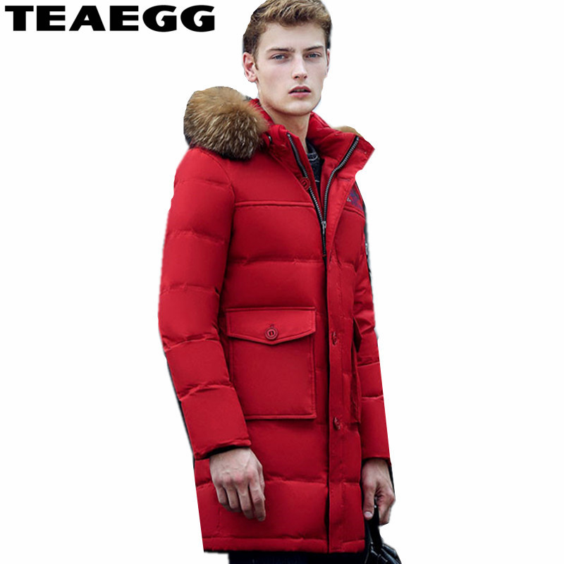 Alion Mens Fashion Winter Long Thick Puffer Jacket Coat with Hood