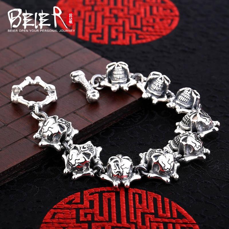 Punk skull hand chain Beier 925 sterling silver man bracelet link chain SCTYL0124 цены онлайн