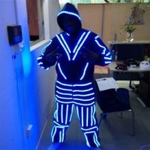 Со светящимися вставками костюм одежда с маской для Танцы светодиодные растущий Освещение робот Костюмы Для мужчин событие для вечеринок