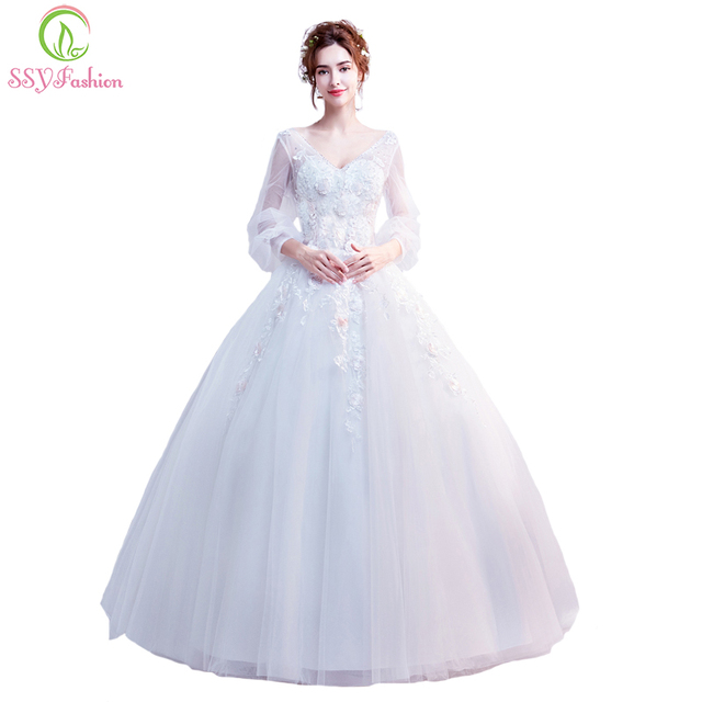 SSYFashion 2018 New Wedding Dress The Bride Married V neck Long ...