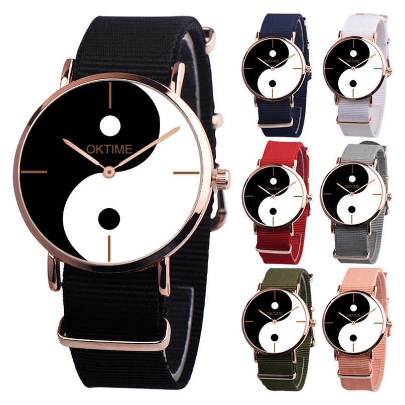 2018 Yin Yang Symbol Watch Tai Chi Black And White Canvas Band Watch Ladies Men's Watches Fashion Accessories  #4M07
