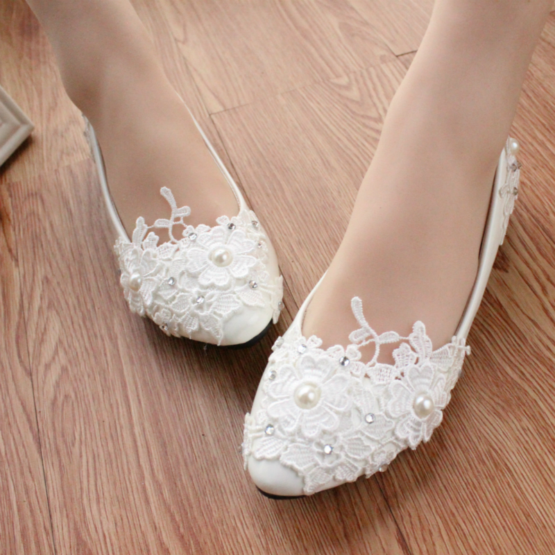 Lace Wedding Dress Shoes Bride And Bridesmaids Performance Shoes