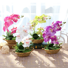 1 x Artificial Vivid Flower Bonsai Butterfly Orchid Potted Plant  With Cement Flowerpot Wedding Party Home Garden Decoration