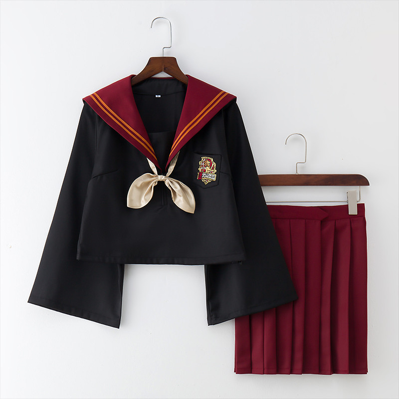Pretty Girl JK Uniform Sailor Suits Women HP Cos Dress Gryffindor Slytherin Cosplay Japanese School Student Uniform Skirt Sets