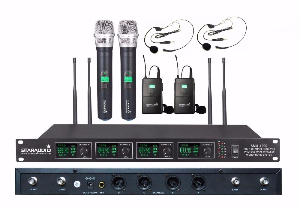 STARAUDIO Pro UHF Diversity 4 Channel Wireless Handheld Headset Microphone System for Karaoke Church  Stage SMU-4000A+B hot sale rechargeable handheld mic 200 selectable channel em3033 skm 5200 skm5200 wireless microphone system for stage ka