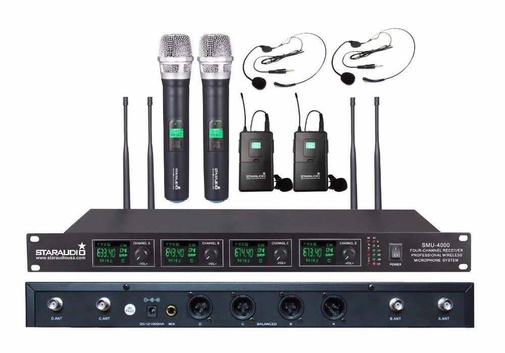 STARAUDIO SMU-4000A+B Pro PA DJ Stage Karaoke Church UHF 4 Channel Wireless Handheld and Headset Microphone System