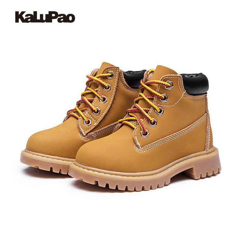 Kalupao Children Shoes Genuine Leather Baby Boys boots Martin boots Waterproof  Children Boots Faux Fur Shoes for Boys Winter