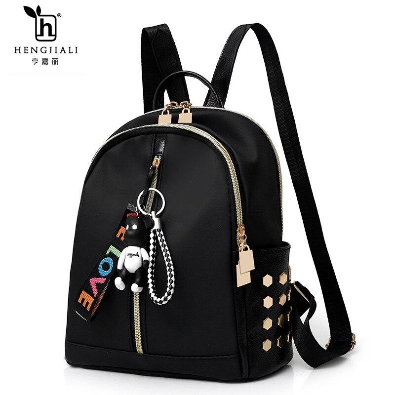 Hengjiali Mochilas Mujer 2019 Luxury Backpacks For Women Backpack Women School Bag Bear Pendant Fashion Travel Bags Backpack