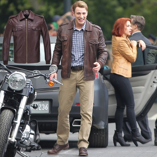 26b520f407c Marvel Avengers Captain America Cosplay Leather Jacket Chris Evans Jacket  Brown Mens Casual PU Leather Coat Free Shipping