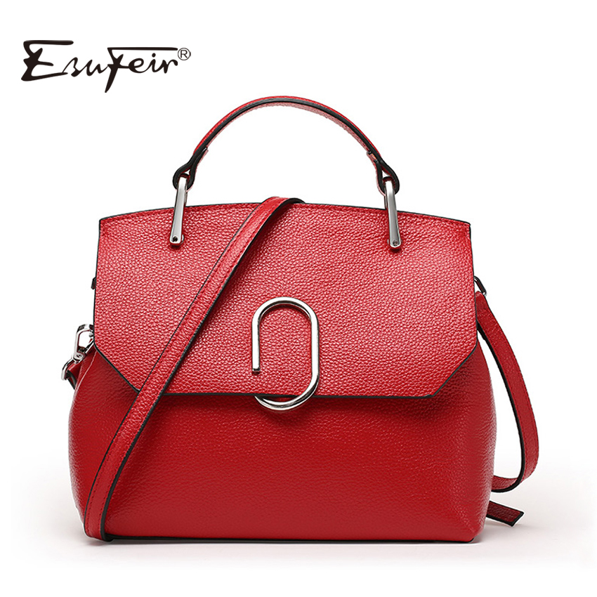 New 2018 ESUFEIR Brand Women Messenger Bag Fashion Genuine Leather Shoulder Bag Famous Design Soft Leather Women Crossbody Bag new esufeir genuine leather stone pattern women handbag famous brand design messenger bag fashion tassel tote bags crossbody bag