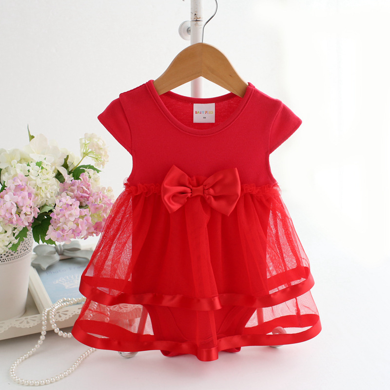 2017 New Female Bow Summer Baby Clothes Girl Dress Jumpsuit Elegant Princess Tulle Gown Event Lolita Style Knee-length Mesh