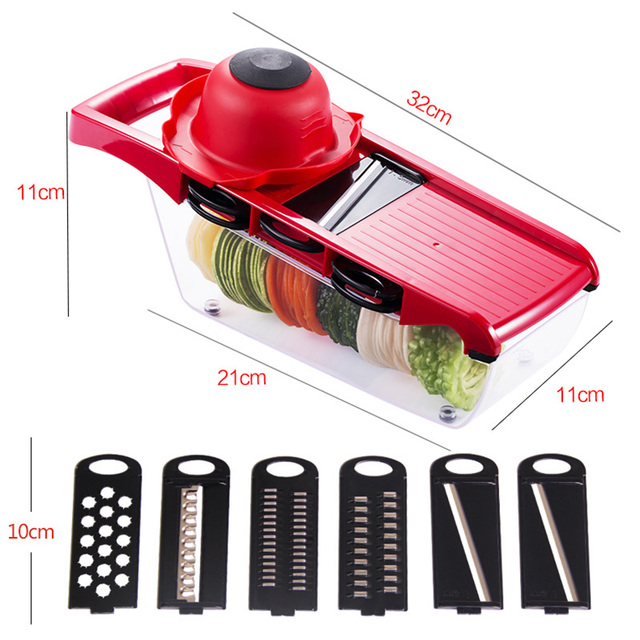 6 in 1 Vegetable Chopper Multi-Functional Grater Vegetable Cutter Sets Food Container Shredders Slicers Kitchen Accessories 2