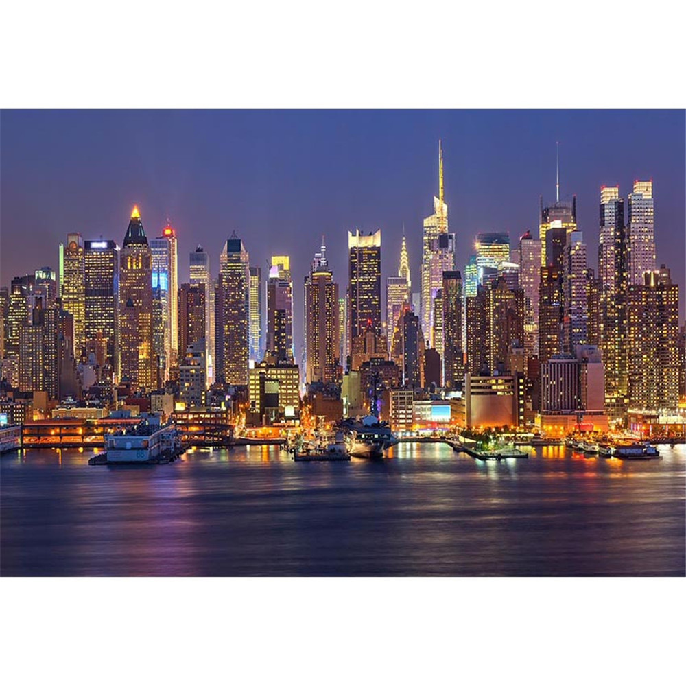 City Night View Backdrop for Photography Printed Buildings Light Bay Steamships Wedding Party Themed Photo Booth Backgrounds