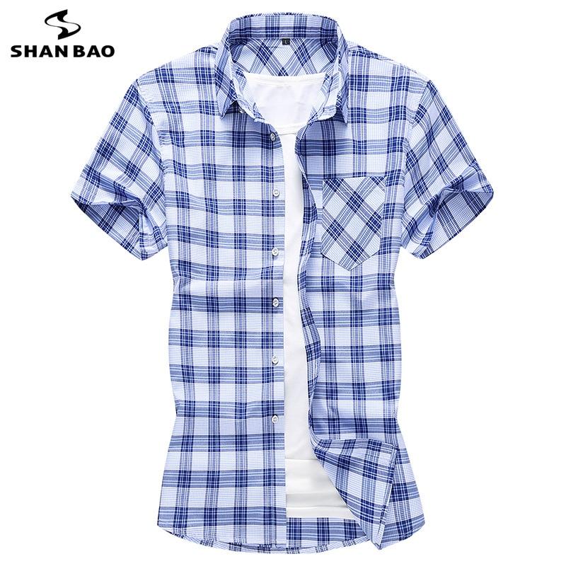 SHANBAO Brand Cotton Plaid Business Casual Short-sleeved Shirt 2020 Summer Fashion Oversized Size Men's Shirt 5XL 6XL 7XL