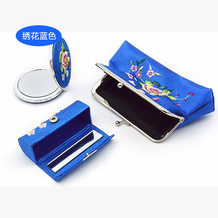 LiiJi Unique 5 sets Multi color 3 Size Silk Jewelry Pouch Display Packaging Pouch Gift Bag Lipstic Case Mirror color block panel pouch design string t back