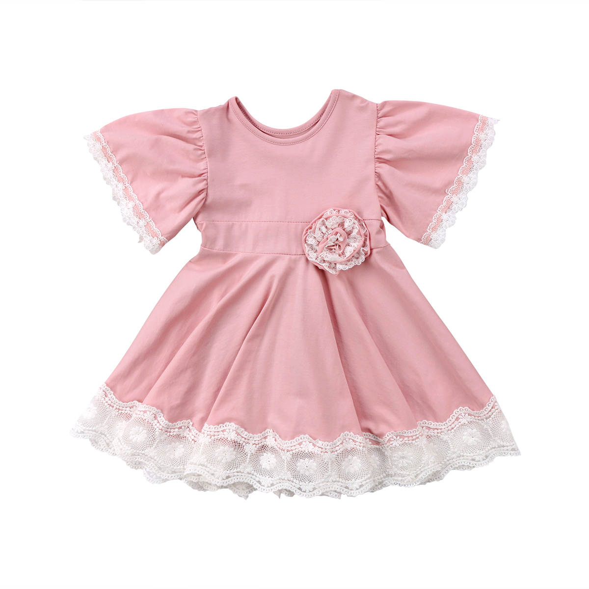 Kids Baby Girls Dress Lace Floral Party Dresses Summer Short Sleeve Round Neck Bridesmaid Girl Pink Easter Princess summer kids baby girls clothintg dress princess pageant wedding party lace short sleeve v neck dresses headband girl
