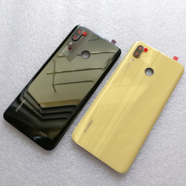 100% оригинальная новая задняя крышка из закаленного стекла для Huawei Nova 3 Nova3 задняя крышка батарейного отсека Корпус + рамка для камеры + крышка для вспышки