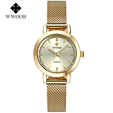 2017 New Luxury Brand WWOOR Ultra Thin Fashion Women Quartz Watches Mesh Belt Stainless Steel Band Woman Casual Wrist watch