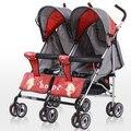 Gemelos cochecito de bebé paraguas coche cochecito doble cochecito de bebé plegable de la luz