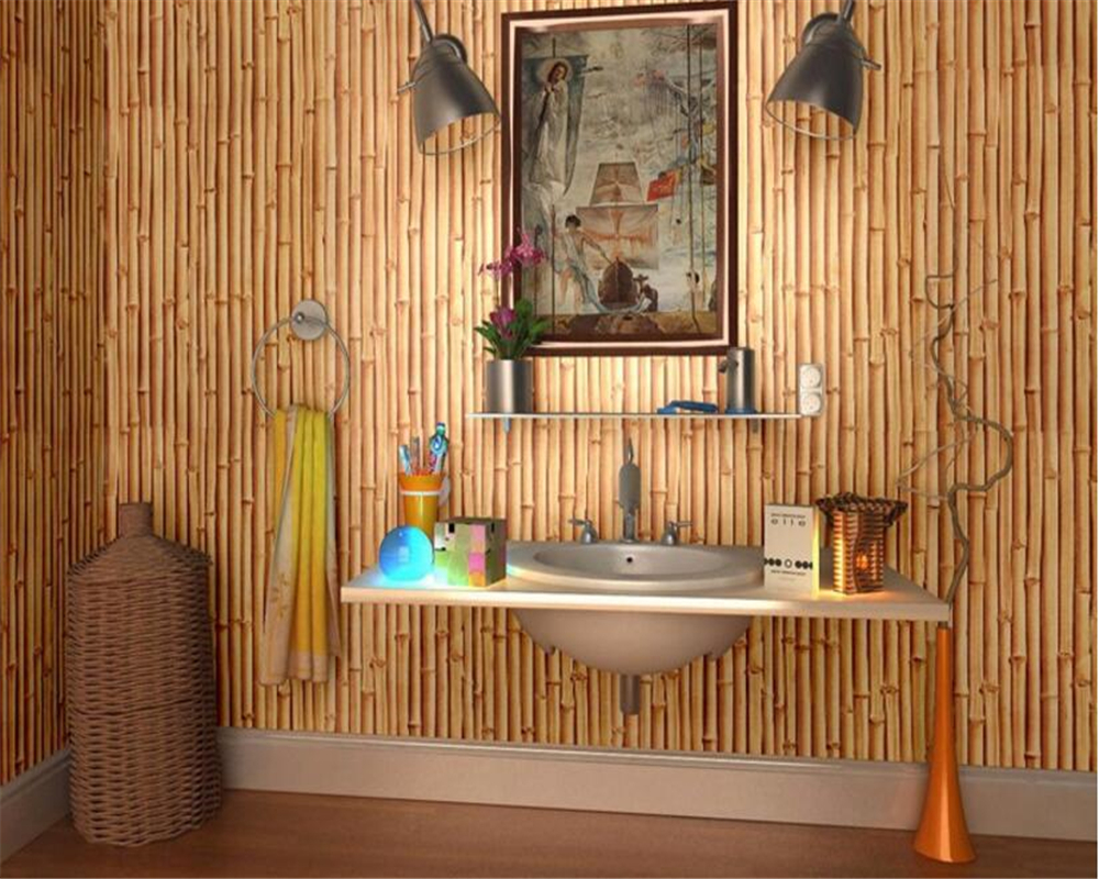 beibehang The new Chinese simulation 3D stereo bamboo 3d wallpaper background study the living room hotel restaurant wall paper