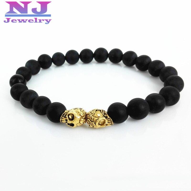 2016 New Arrive Men Bracelets & Bangles 8mm Natural Black Matte Stone Beads 24K Gold color Double Skull Head Bracelet Men Gift