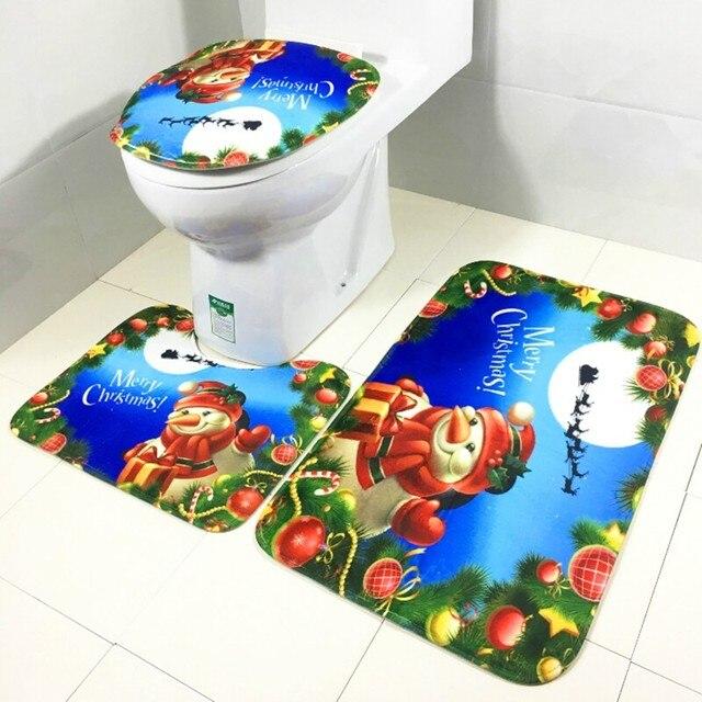 3 шт./компл. мультфильм Рождество Санта-Клаус узор анти-шелк коврик для ванной фланелевый КОНТУР КОВЕР крышка для унитаза ковер набор для ванной комнаты
