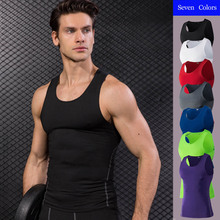 2019 Mens Tank Tops Quick Dry Gym Athletic Compression Tights Sleeveless T-shirt Running Vest Men Fitness Under Top