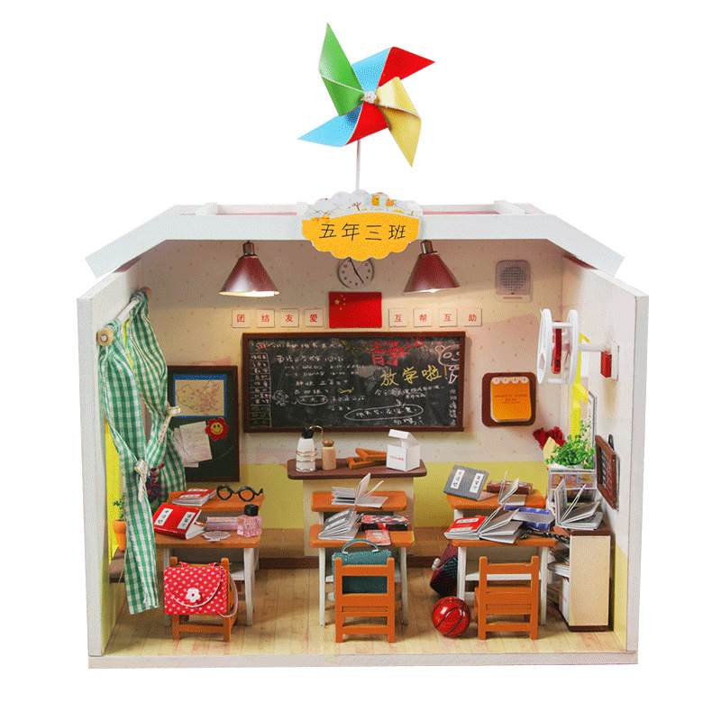 Miniature Wooden Dollhouse Furniture Kit DIY Doll House With LED Lights Classroom Model Graduation Xmas Birthday Gift