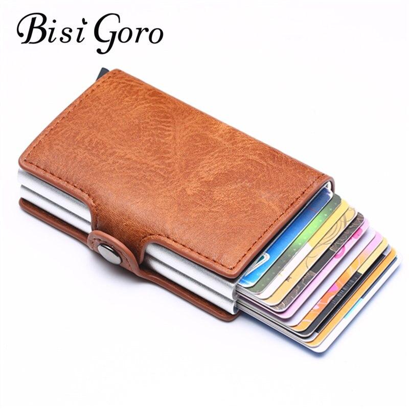 Bisi Goro 2019 Smart  Wallet Men's Retro RFID Aluminum Alloy Card Holder Anti-theft Brush Bank Card Sets Ladies Short Wallet