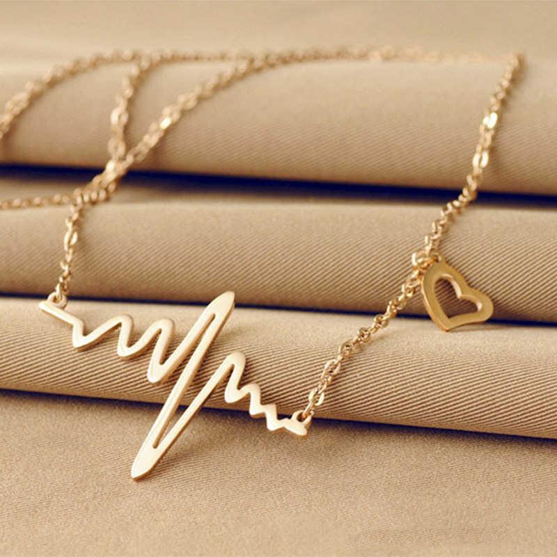كوريا جديد مجوهرات الأزياء تقليد التيتانيوم الصلب بيجو فام الذهب الفضة ECG القلب قلادة الترقوة المختنق قلادة قلادة