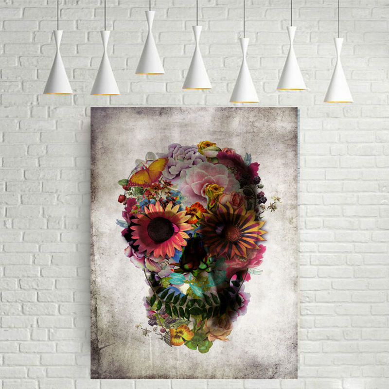 Dod Flower Skull ins Decoration Lanscape Wall Art Canvas Poster DIY Canvas Painting Decorative Picture for Living Room Home