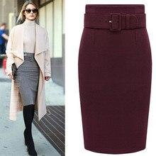 Новое поступление, Женская Осенняя зимняя Элегантная модная юбка средней длины, тонкая шерстяная юбка из органической кожи