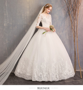 Image 5 - 2021 New Arrival EZKUNTZA Half Sleeve Wedding Dress Lace Ball Gown Princess Simple Plus Size Bride Dress Vestido De Noiva