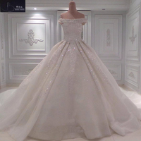 High Quality Off the Shoulder Ball Gown Plus Size Wedding Dress Beaded Cathedral Train Wedding Gowns
