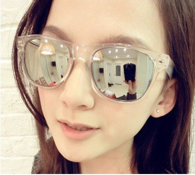 458e62ad63d5 Free shipping fashion big clear frame reflections mirror sunglasses ladies`glasses  1pcs lot promotion