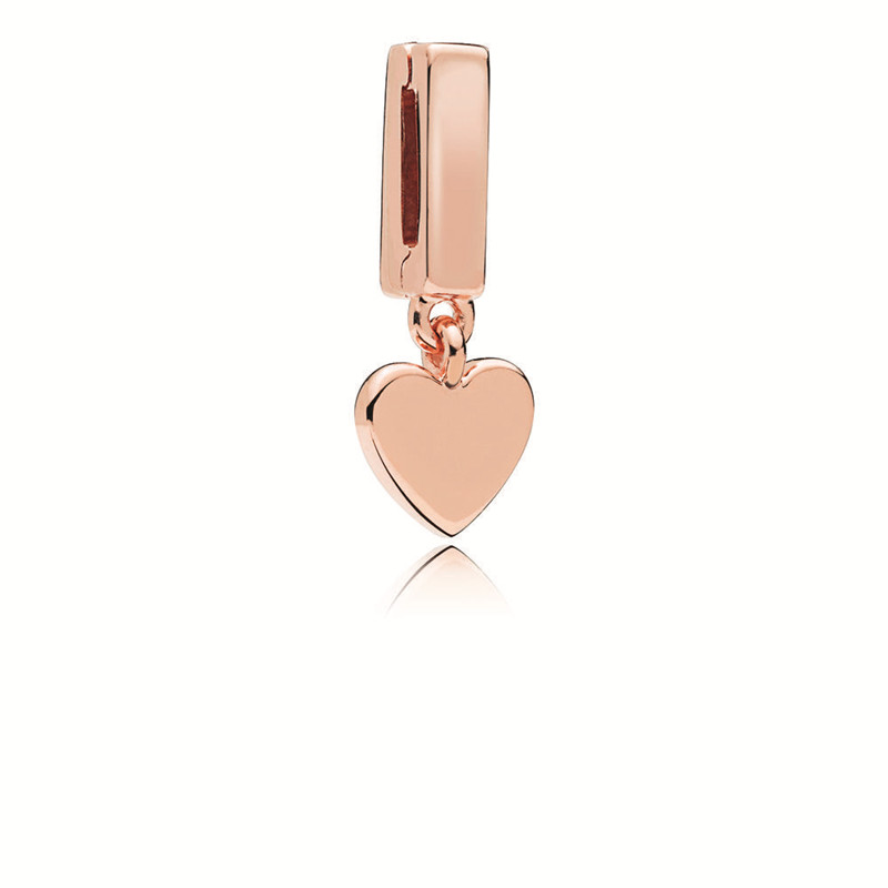 Fashion New Reflexions Collection Rose Golden Floating Heart Charms for Jewelry Making DIY Charm for Reflexions Beaded Bracelets