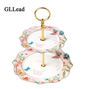 GLLead Fashion European Style Flower Color Ceramic Two Layers Cake Plate Fruit Dish Home Dessert Plates Creative Tableware