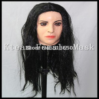 Top Halloween Party Cosplay Costume Latex Crossdressing Female Mask for Male Transgender Dress Up Human Face Mask with long hair