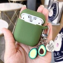 Dla apple airpods skrzynki pokrywa śliczne zielone jabłuszko Avocado Bluetooth etui na słuchawki do etui ochronne na słuchawki airpods z breloczkiem prezenty