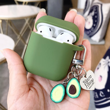 Für Apple AirPods Fall Abdeckung Nette Grün Obst Avocado Bluetooth Kopfhörer Fall Für Airpods Schutzhülle Mit Schlüssel Ring Geschenke