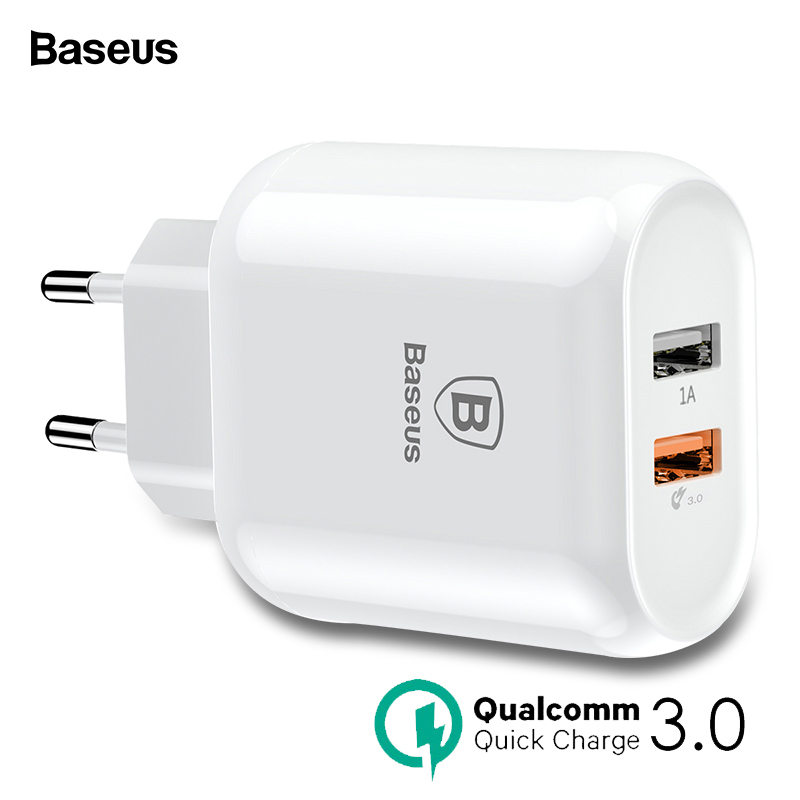 Baseus Phone Charger Quick Charge 3.0 Dual USB For iPhone X 8 Universal 5V/3A Travel Wall USB Charger For Samsung Xiaomi EU Plug