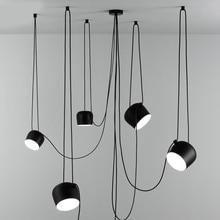 북유럽 성격 DIY 스파이더 펜던트 램프 화이트 또는 블랙 드럼 그늘 펜던트 라이트 현대 조절 교수형 드럼 전등