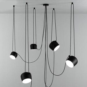 Image 1 - 북유럽 성격 DIY 스파이더 펜던트 램프 화이트 또는 블랙 드럼 그늘 펜던트 라이트 현대 조절 교수형 드럼 전등