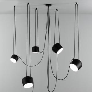 Image 1 - Nordic Personality DIY Spider Pendant Lamp White or Black Drum Shade Pendant Light Modern Adjustable Hanging Drum Light Fixture